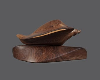 Mid Century Wooden Sculpture Shell Seashell Teak Wood Hand Carved Art