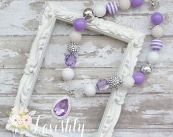Collar collar grueso, Bubblegum/Sofía la primera / niño de cuentas collar/brillante collar primer cumpleaños púrpura collar joya collar