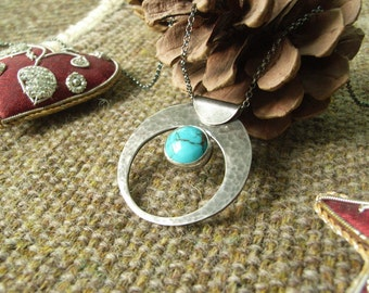 "Silver & Turquoise ""Crescent"" Pendant. Textured. Hallmarked Sterling Silver. Rich Patina with Matching Chain."