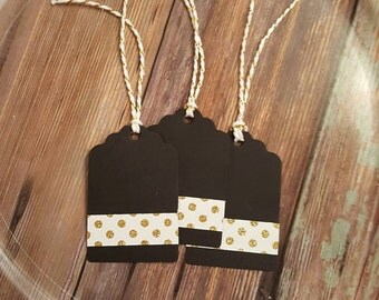 BLACK GOLD TAGS, 12 Black Gold Polka Dot Tags, Thank You Tags, Gift Tags, Party Tags, Elegant Black Tags, Wedding Tags-Party Favor Tags