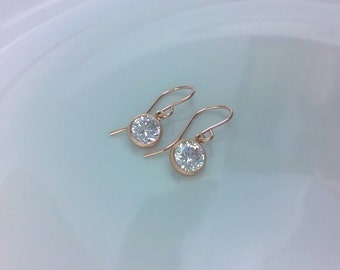 Small 14Kt rose gold-filled cubic zirconia earrings; rose gold drop earrings; cubic zirconia rose gold earrings