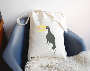 """Tote bag """"TOUCAN"""" 100% cotton - cotton bag with toucan - shopping bag"""