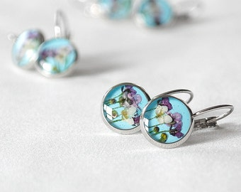 Light blue earrings Turquoise earrings for bridesmaid set Sky blue earrings for wedding earrings jewelry beauty gift Unique earrings for her