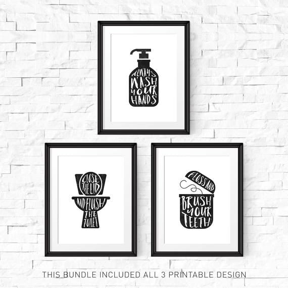Bathroom wall decor printable sign print set of 3 flush for Vintage bathroom printables