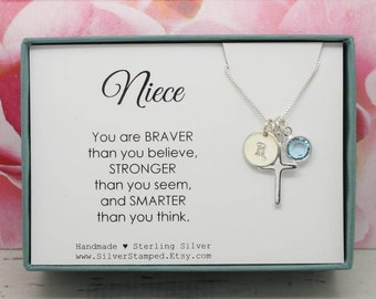 Easter Gift for Niece gift Necklace, Sterling Silver Initial birthstone necklace, Niece's birthday graduation baptism confirmation gift