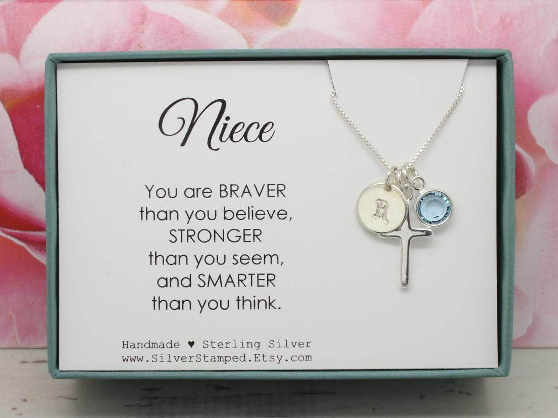 Easter gift for niece gift necklace sterling silver initial zoom negle Choice Image