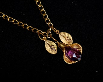 Amethyst Personalized Necklace - Calla Lilly Necklace - Custom Initial Jewelry, Gold Vermeil necklaces, Amethyst Gemstone Necklaces