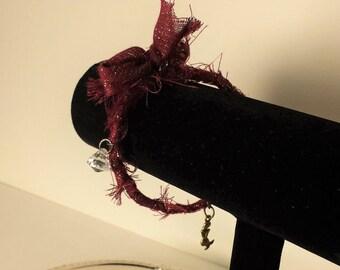 Gypsy Bangle Bracelet, Bangle Charm Bracelet, Up-cycled Bracelet, Red Gypsy Bangle, Boho Bracelet, Charm Bracelet - 00156