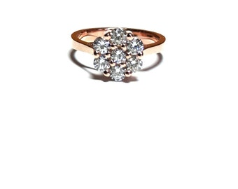 Rose Gold Ring-Flower Ring-Rose Flower Ring-925K Silver Flower Ring