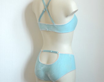 Baby blue velvet open-back panties, Handmade in France