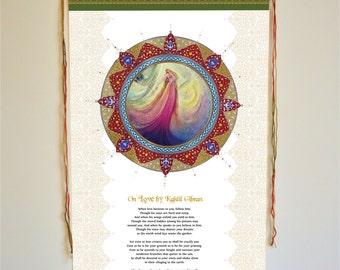 On Love by kahlil gibran, wall hanging, Wall art, kahlil gibran, middle eastern art, On love by Kahlil Gibran, Khahlil Gibran, khalil gibran