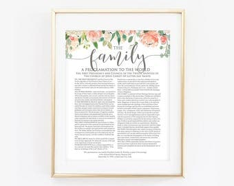 Floral Family Proclamation, LDS Family Proclamation, The Proclamation to the Family, Floral, Coral, Modern LDS Print, LDS Printable