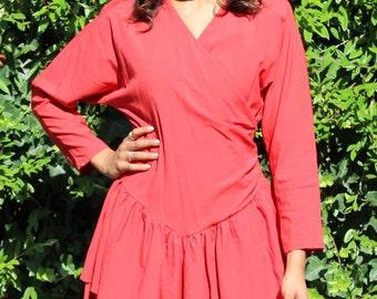 Vintage 80's Ruffle Ra Ra Dress 80's Ra Ra Dress Red Ruffle Dress 80's Dresses  Vintage Red Dress 80's Red Dress