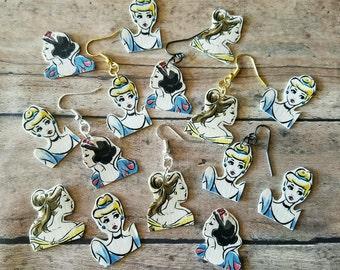 Mix and Match Vintage Disney Princess duct tape earrings. Customize your earrings. Duct tape earrings