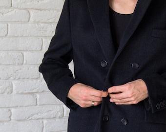 Mens coat, mens overcoat, black frock coat, jacket coat, tailored coat, classic coat, frock coat, black coat, wool coat by Olena Molchanova.