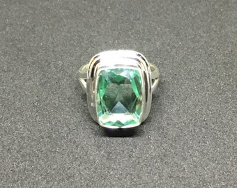100% Genuine Paraiba Apatite Gemstone Solitaire Ring in Solid .925 Sterling Silver, TCW 8.75