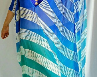 Tropical beach Caftan, Turquoise, Pink, Orange, swimsuit coverup, Beach Cover ups, Honeymoon, Vacation wear, Beach cover-ups, Beach Kaftan