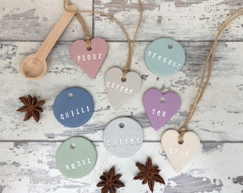 Clay Jar Tags - kitchen jar labels, spice jar labels, mason jar tag, kilner jar tags, custom hand stamped, kitchen decor, wedding decor