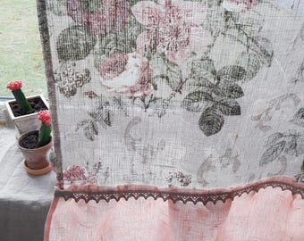 Linen curtains Window Linen floral curtain Ruffled curtain Roses linen Pink linen curtain Ruffles curtains Cafe panels Pink nursery curtains