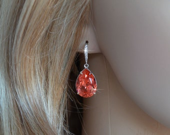 Handmade Bright Coral Swarovski Padparadscha Crystal Earrings, Bridal, Wedding (Sparkle-2644)