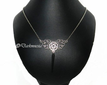 Silver necklace, inverted pentagram, pentacle, black spike, goth, gothic, witch, satan, diable, occult, satanic, baphomet