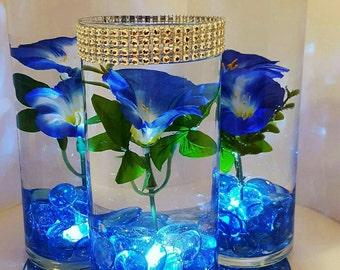 Wedding Centerpiece, Floating Flower Centerpiece, LED Lights, Blue Flowers,  Blue Decor,