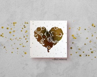 Gold Love Heart Card - Gold Foil Card - Love Card - All Occasions Card - Blank Card - Card for Girlfriend - Card for Boyfriend