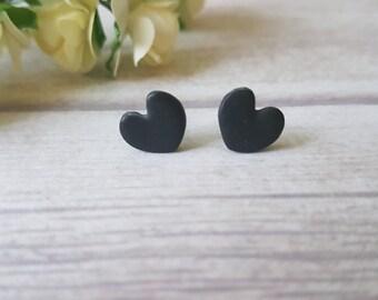 Black heart earrings, Heart stud earrings, Girlfriend gift,  Dainty studs, Simple earrings black, Heart shaped earrings, Cute earrings
