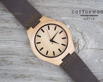 Wooden Watch for Him, Engraved Watches for Men, Leather Watches for Men, Husband Gift, Mens Wooden Watch, Boyfriend Gift, Gifts for Him