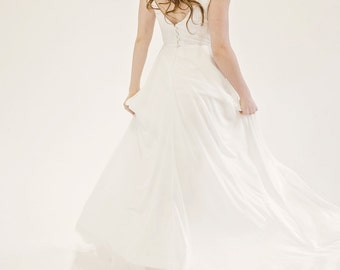 Emma / Plunged neckline wedding dress with chiffon skirt, court length train & lace bodice