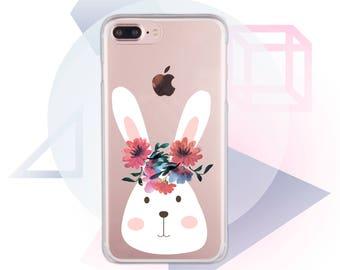 Rabbit 7 iPhone Case Clear iPhone 6 Case Floral 6s iPhone Case Clear iPhone Case Flowers iPhone X Case Clear iPhone 8 Plus Case Cute MC1053