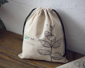 50 Personalized Cotton Linen Bags Drawstring Fabric Bags Custom logo Printed Gift Bags Jewelry packaging Pouches bag