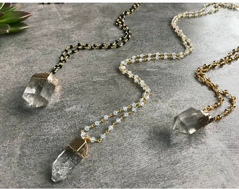 Long layering gemstone quartz crystal necklace