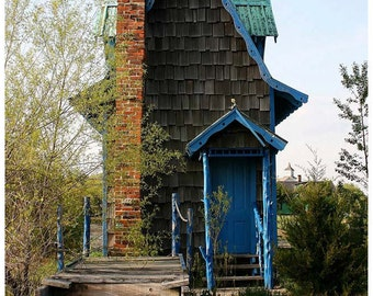 Tiny Blue House Documentary Photograph - Whimsical Architecture Art Photo - Gingerbread House Photo - Limited Edition, Hand-Signed Photo Art