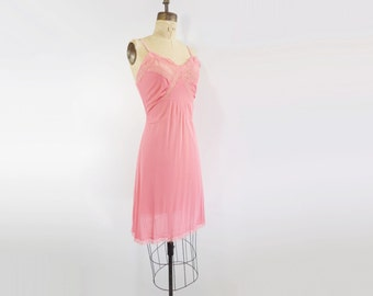 1960s Vintage Slip 60s Nylon Pink Slip Vintage Nylon Slip Coral Pink Dress Vintage Lace Slip Coral Slip Dress Nylon and Lace Dress m