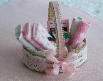 Miniature, Sewing Basket, hand made, one inch scale, for the dollhouse