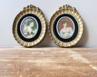 pair cameo creation portraits ornate gold plaster frames paris apartment high romance