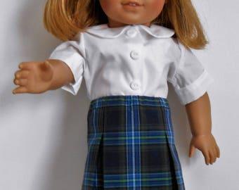 "Blue plaid school uniform skirt with white blouse fits 18"" dolls like American Girl"