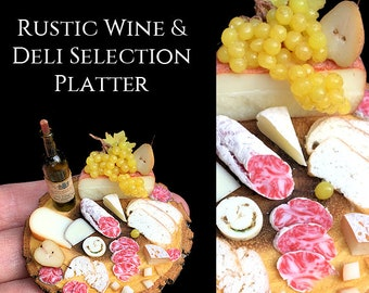 Rustic Fine White Wine & Deli Selection Board   Food in 12th scale. From After Dark miniatures.