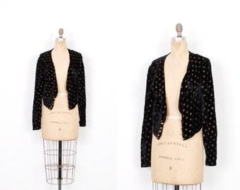 Vintage 1930s Jacket / 30s Velvet Burnout Polka Dot Bolero / Black and Gold ( S M )
