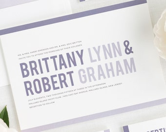 Modern Stack Wedding Invitations - Sample