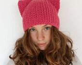 Pink Cat Hat, Pink Pussycat Hat, Crochet Pussycat Hat, Pussy Cat Hat, Feminist Hat, Pink Cat Beanie Hat, Women's March Hat, Women's Right