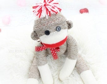 Traditional Sock Monkey Doll, Gifts for Kids