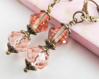 Peach Bridesmaid earrings, rustic wedding jewelry, crystal bronze earrings, bridesmaid gift, bridal party gift, country wedding