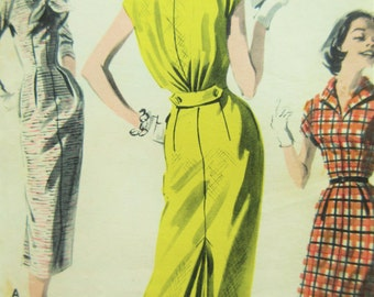 Vintage Butterick 8128 Sewing Pattern, 1950s Dress Pattern, Wiggle Dress, Bust 34, Kick Pleat Skirt, Blouson Back, 1950s Sewing Pattern