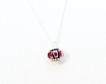Drop Lampwork Glass Bead Pendant, layering necklace, layered pendant, gift, classic, simplistic
