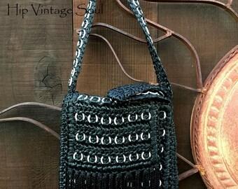 REDUCED, Vintage 1960's Black Raffia Purse, Top Handle Black Raffia Purse, Bohemian