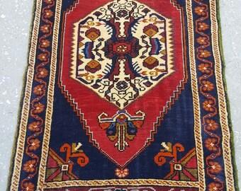 2 by 4 rug / Vintage Oushak Rug / Vintage Rug / Turkish Oushak Rug / Distressed Rug / Oushak Rug / Area Rug / Kitchen Rug / Small Rug