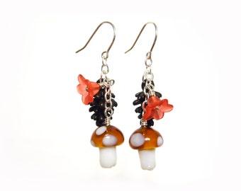 Woodland Earrings, Woodland Jewelry, Pine Cone Earrings, Mushroom Earrings, Woodland Outfit, Woodland Birthday, Dangle Earrings, Lampwork