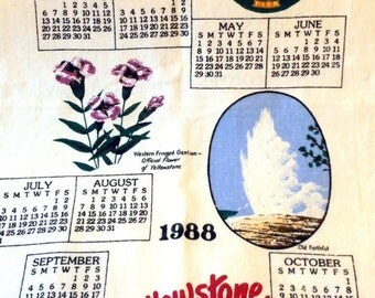 Yellowstone Park and Old Faithful Vintage Tea Towel Linen Calendar